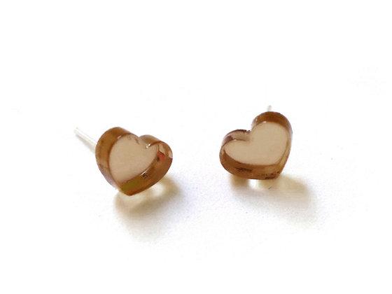 Πλέξιγκλας σκουλαρίκια BROWN HEARTS