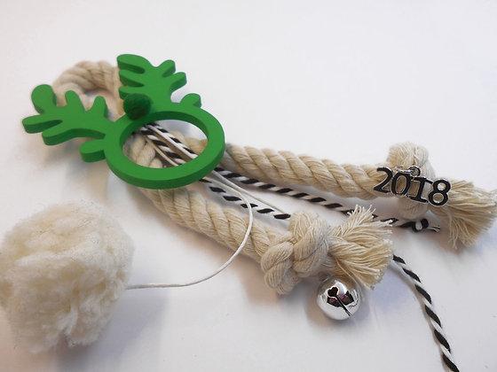GREEN WOODEN DEER NAPKIN RING