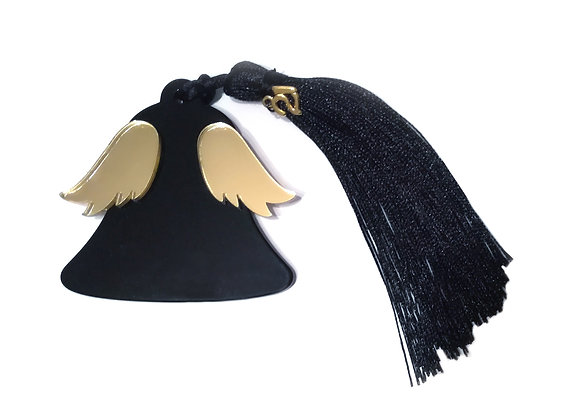 Christmas winged bell / black
