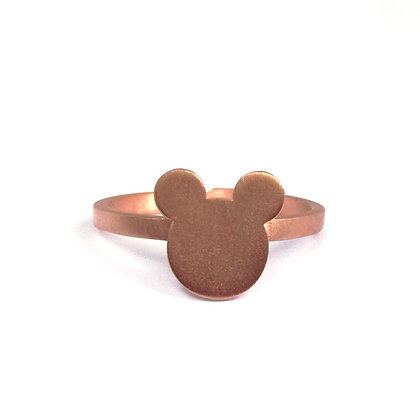 PINK GOLD PLATED SILVER FAMOUS MOUSE