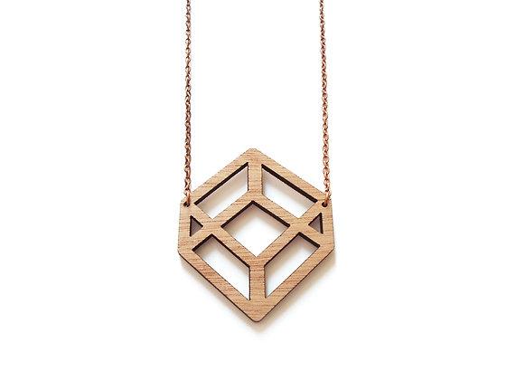 """Κολιέ από ξύλο """"3D Cube"""""""
