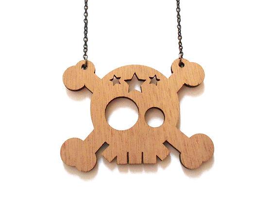 """Κολιέ από ξύλο """"Skull"""""""
