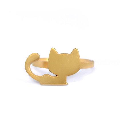 Επιχρυσωμένο ασημένιο δαχτυλίδι CAT