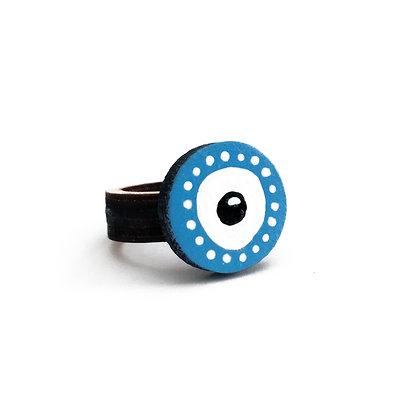 Ξύλινο δαχτυλίδι Blue Eye