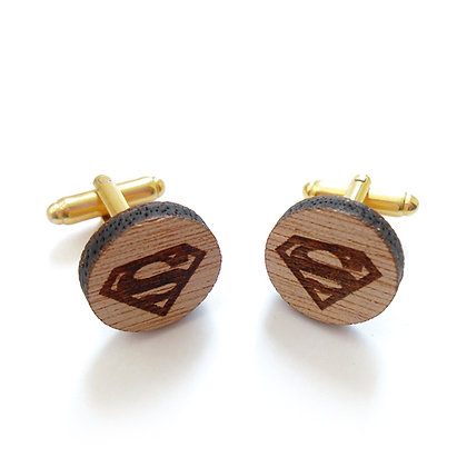 Ξύλινα μανικετόκουμπα SUPERMAN
