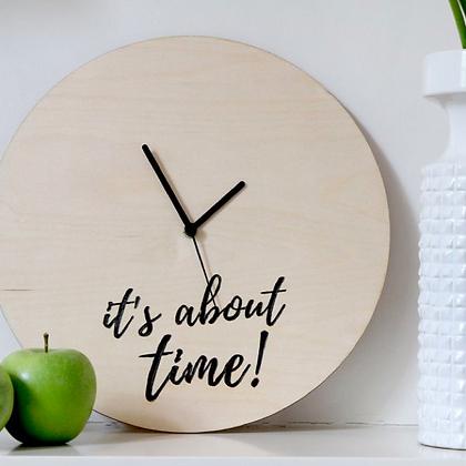 Ξύλινο ρολόϊ τοίχου IT'S ABOUT TIME