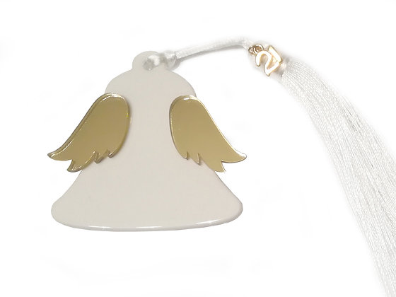 Christmas winged bell / white