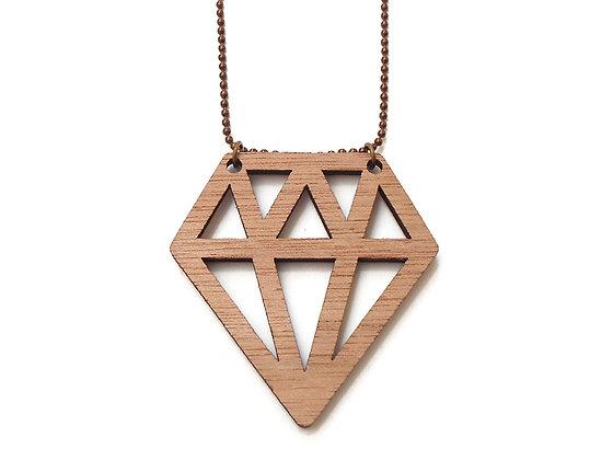 """Κολιέ από ξύλο """"Diamond"""""""