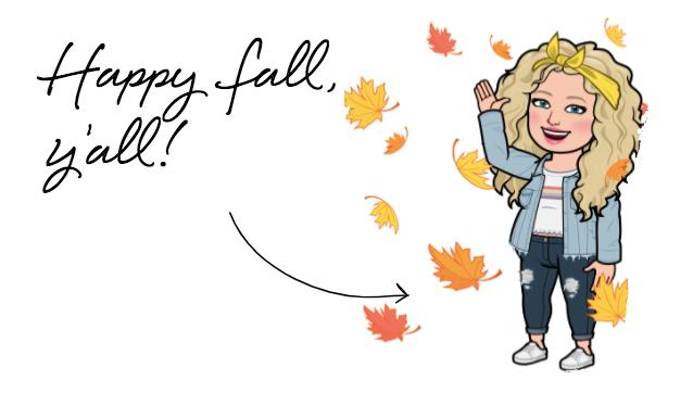 Alycia Yerves happy fall, ya'll bitmoji