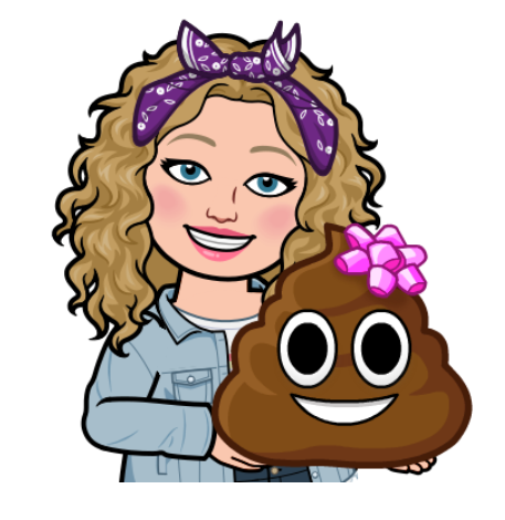 Alycia Yerves bitmoji holding poop emoji