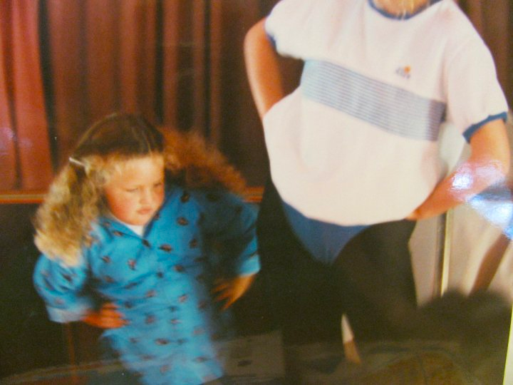 Alycia Yerves at aerobics class on a cruise ship at 4 years old