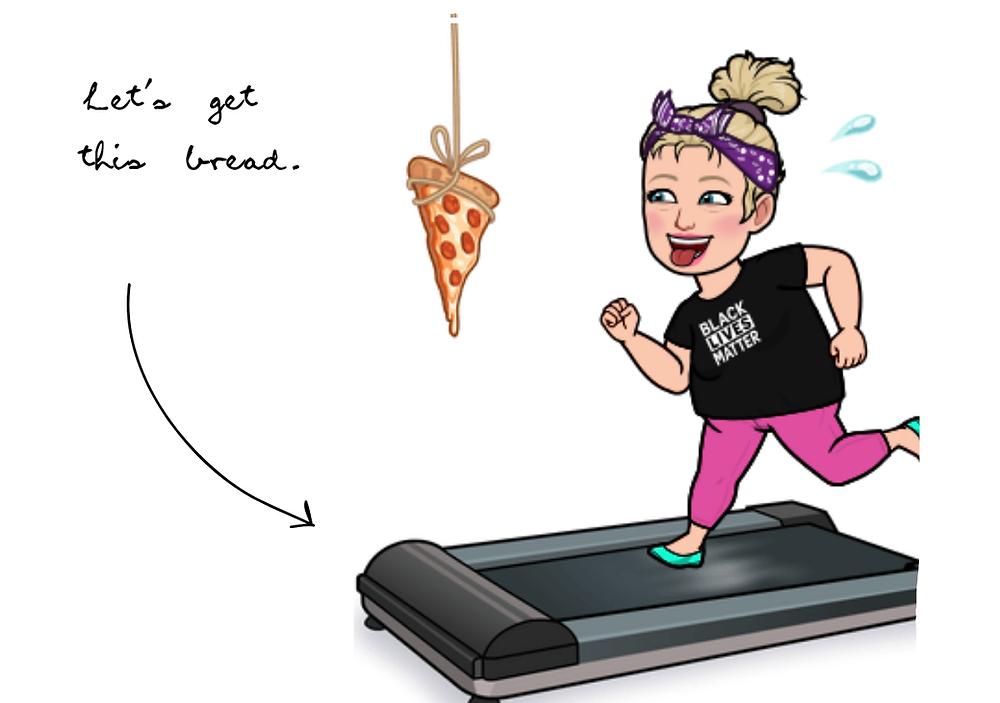 Alycia Yerves bitmoji chasing pizza on treadmill