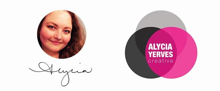 Alycia Yerves headshot, signature, and logo bar