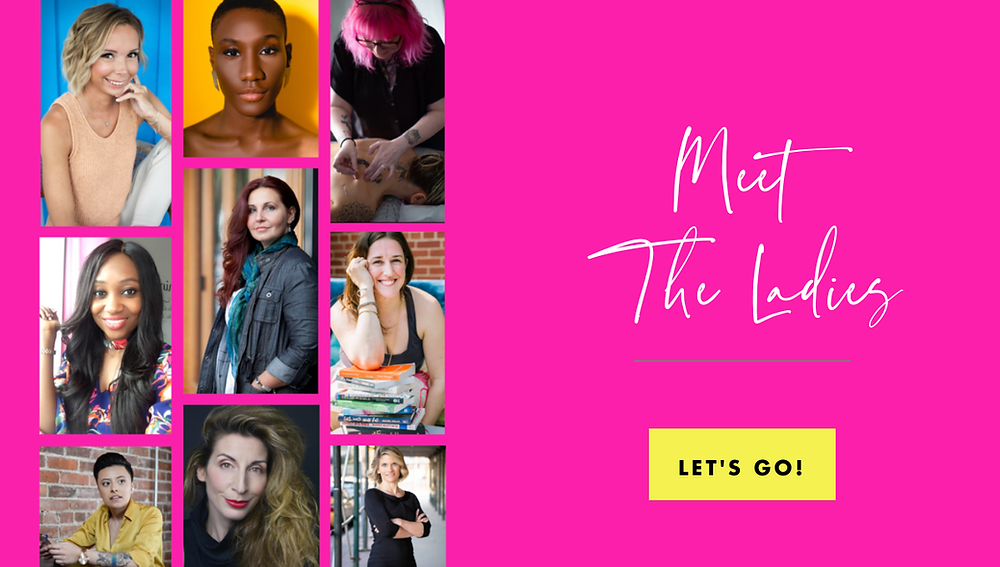 Collage of women from the Ladies Who Launch series