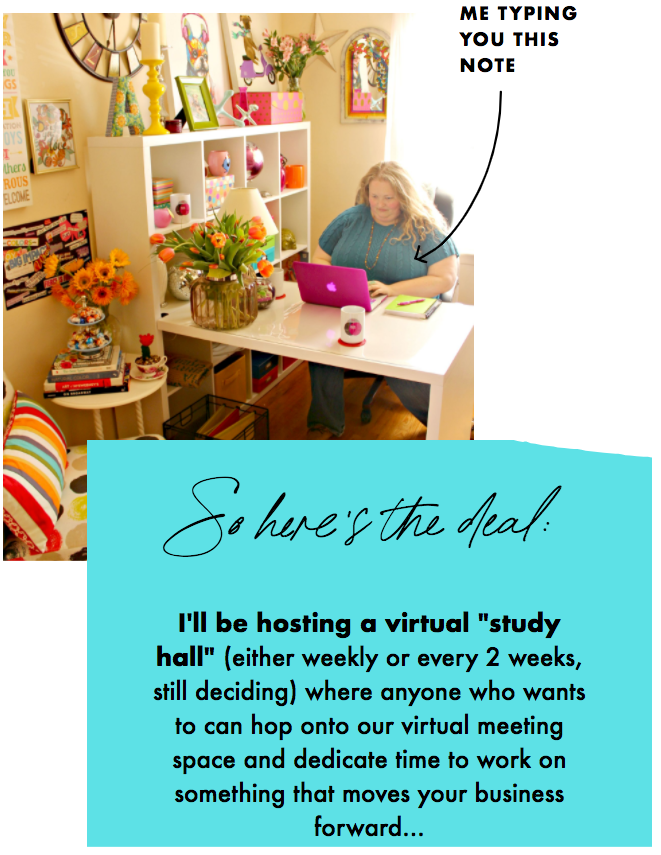 Alycia at home office desk, virtual study hall for every two weeks