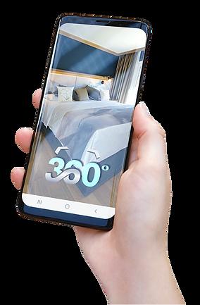 Smartphone-Hand-mit-360-Grad-Hotel-Glacier Grinderwald Bild