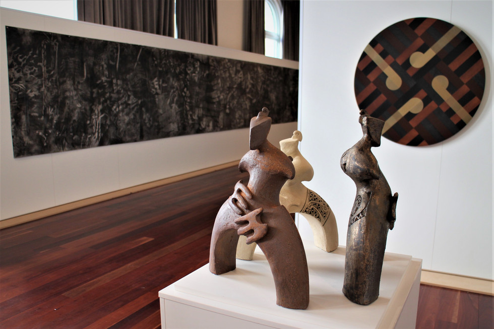 exhibition view with works by Baye Riddell and Sheree Willman in foreground .jpg