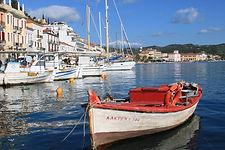 A Greek fishing village.