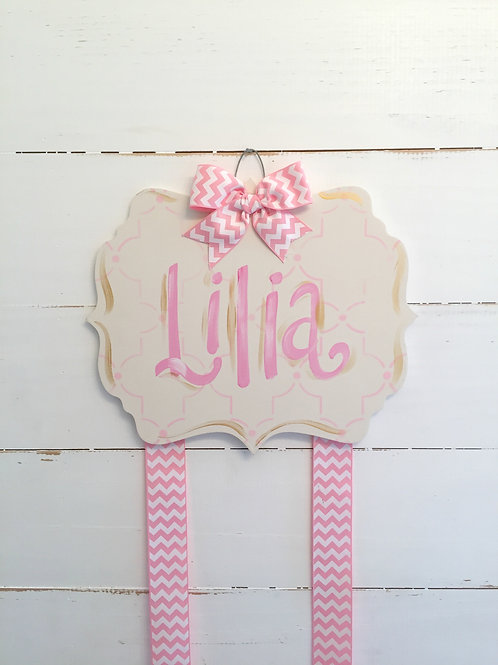 Personalized Hair Bow Holder-Cream & Pink