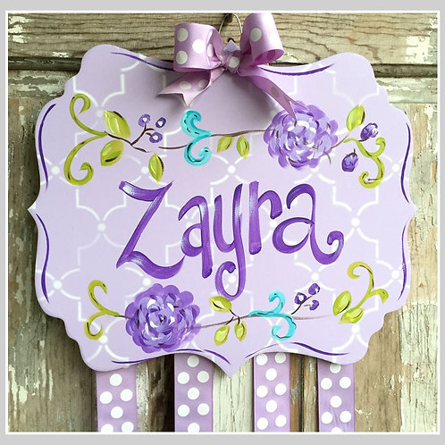 Personalized Hair Bow Holder-Large Purple Floral