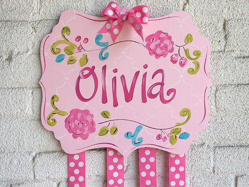 Personalized Hair Bow Holder-Large Pink Floral