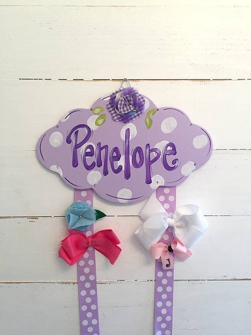 Personalized Hair Bow Holder-Purple Cloud