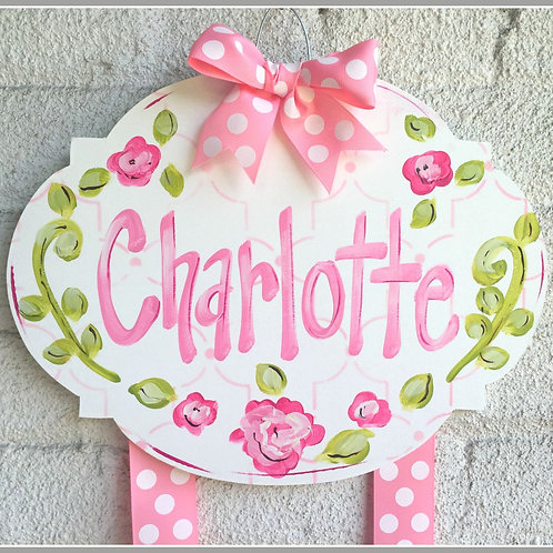 Personalized Hair Bow Holder-Bubble Pink & Green