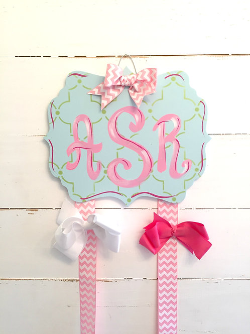 Personalized Hair Bow Holder-Blue Fancy