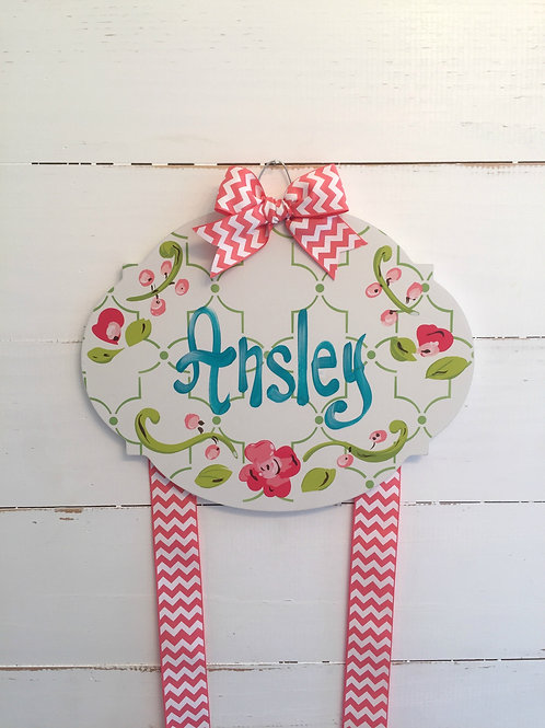 Personalized Hair Bow Holder-Bubble Coral and Teal