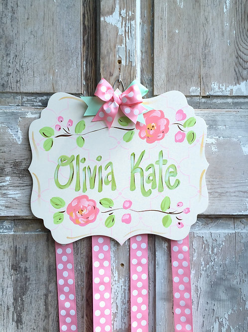 Personalized Hair Bow Holder-Cream, Coral, Pink