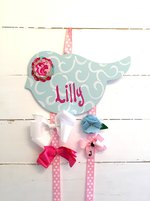 Personalized Hair Bow Holder-Blue Birdie