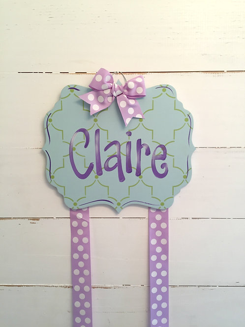 Personalized Hair Bow Holder-Blue & Purple