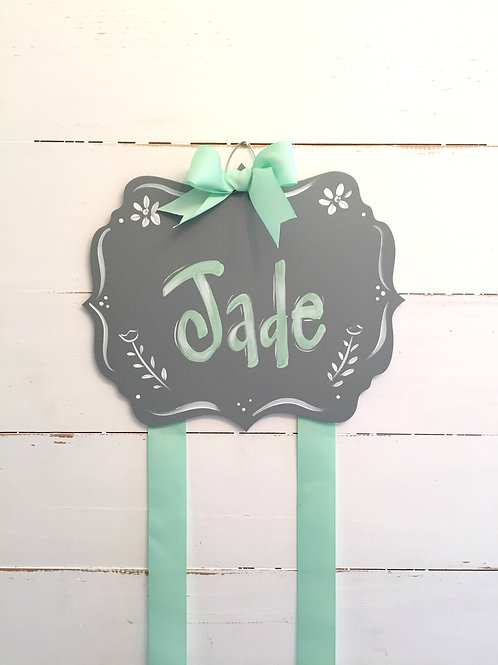 Personalized Hair Bow Holder-Fancy Grey & Mint