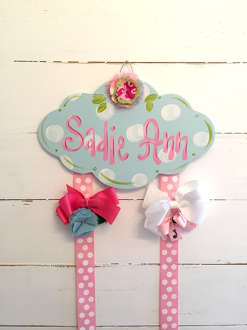 Personalized Hair Bow Holder-Blue Cloud