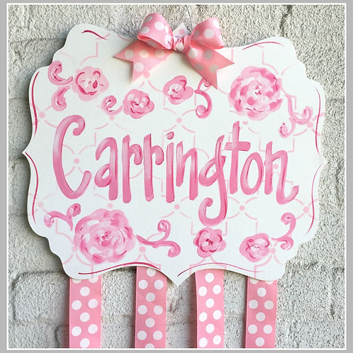 Personalized Hair Bow Holder-White/Pink Floral