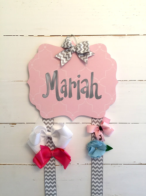Personalized Hair Bow Holder-Pink & Grey