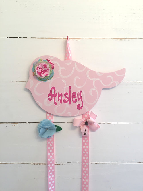 Personalized Hair Bow Holder-Pink Birdie