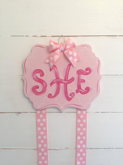 Personalized Hair Bow Holder-Fancy Pink