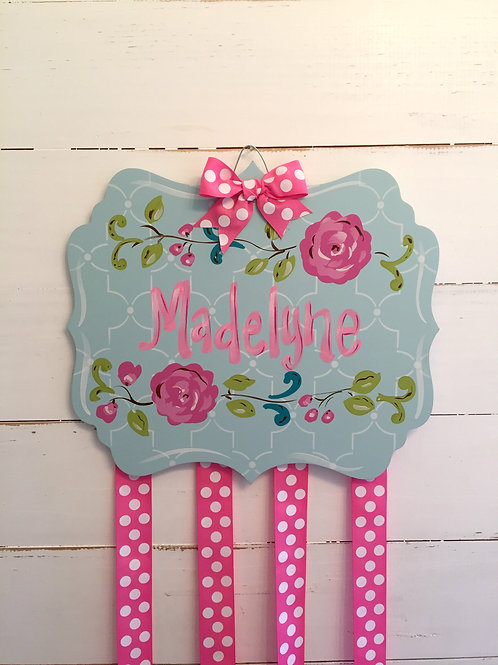 Personalized Hair Bow Holder-Large Aqua Floral