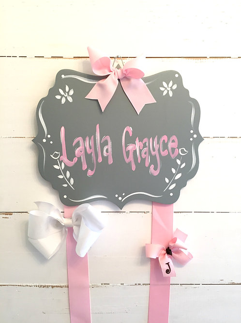 Personalized Hair Bow Holder-Grey & Pink