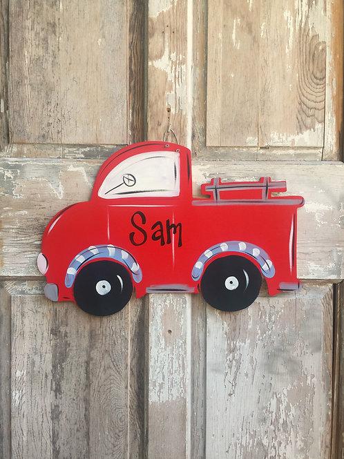 Red Truck Wall Art-Door Sign