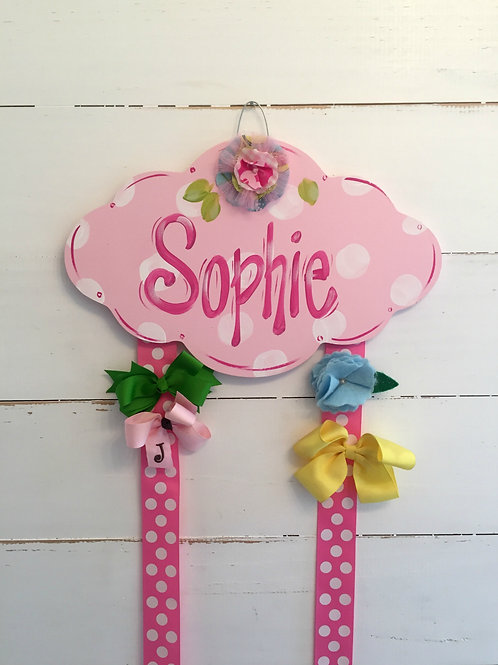 Personalized Hair Bow Holder-Pink Cloud