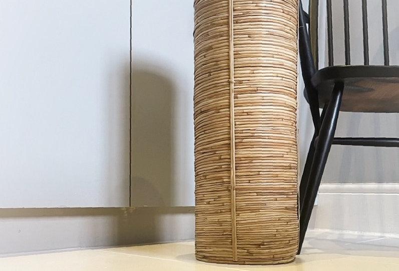 Mid Century Bamboo Umbrella Stand / Floor vase