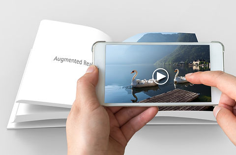 Augmented reality marketing concept. Han