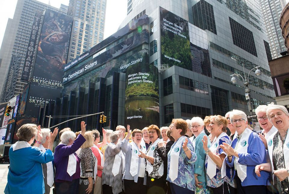 Leaders of 16 Dominican Sisters congregations gathered at Morgan Stanley's global headquarters on Times Square to kick off the Climate Solutions Funds Initiative on June 18, 2018
