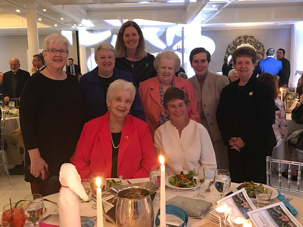 Sisters Didi Madden, Ellenrita Purcaro, Barbara Werner, Jane Francis Marron, Mary Ann Collins, Mary Flood, and Michaela Connolly, as well as Sr. Barbara's niece, Christine Connelly at the Legacy Gala on February 21, 2020.