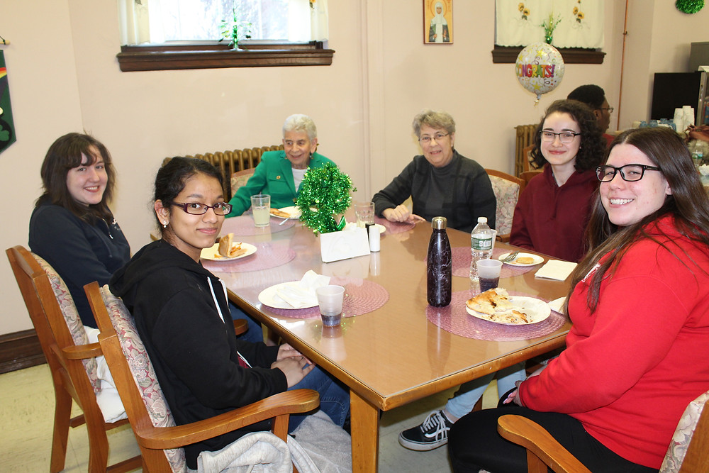 Sisters Ursula McGovern and Joanie Smith with Dominican College students