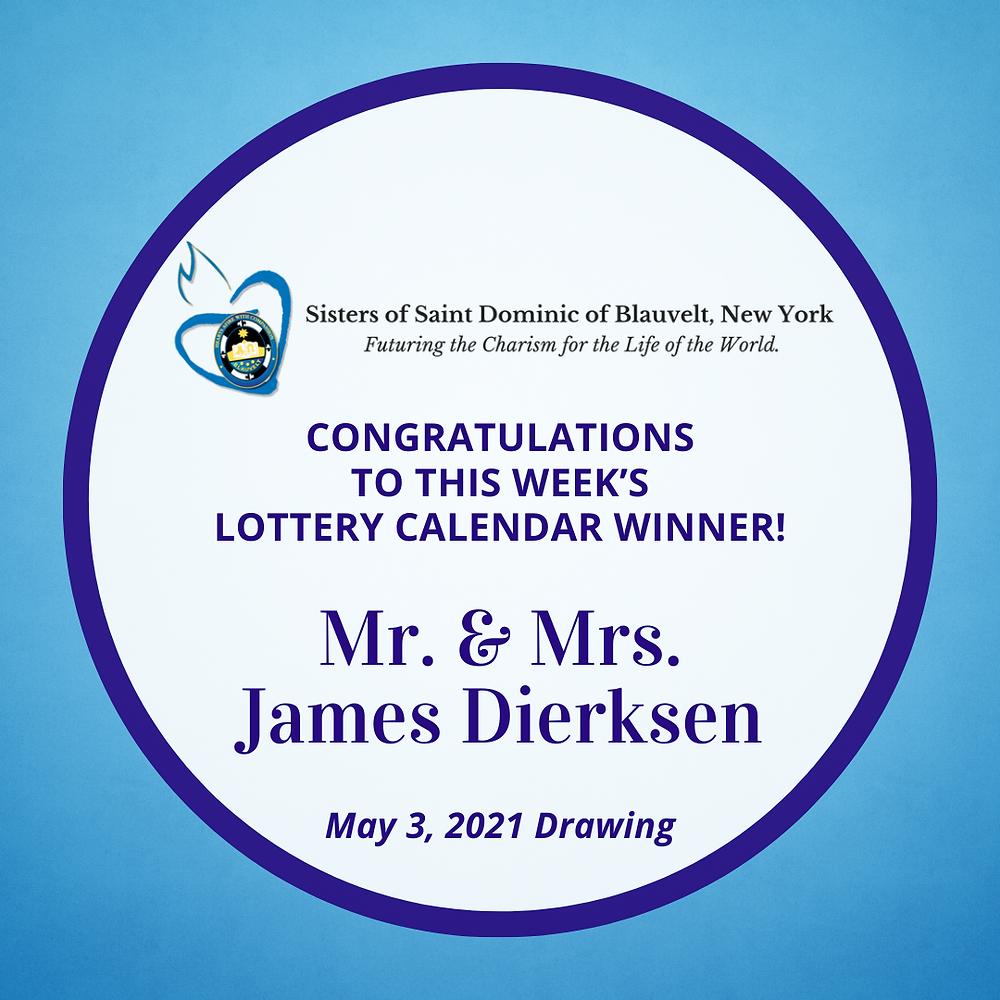 Sisters of Saint Dominic of Blauvelt, New York Lottery Calendar Winner