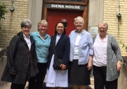 Sisters Ceil Lavan. Lauria Fitzgerald, Cecilia Espenilla, Mary Doris, and Cely Byrnes at Siena House