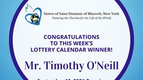 Lottery Calendar Winner - September 13, 2021